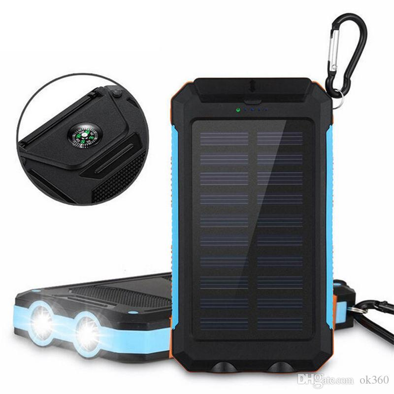 Solar Power Bank 20000 mAh Dual Power Bank External Battery Portable with LED flashlight and compass Charger Waterproof power bank for phone