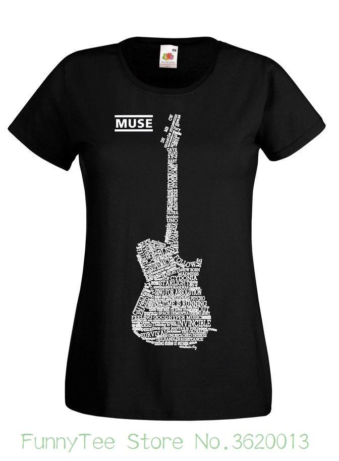 e38e27fd Women's Tee Muse V2 , Guitar , Matthew Bellamy T shirt ( Black ) Xs 2xl For  Lady Tops Streetwear
