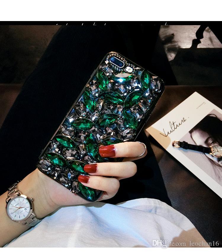 Bling Lüks Tam Elmas Arka Kapak Glitter Shinning Rhinestone Telefon Kılıfı Şık Pırıltılı Kabuk iphone XS Max XR 7 Samsung S9 Artı