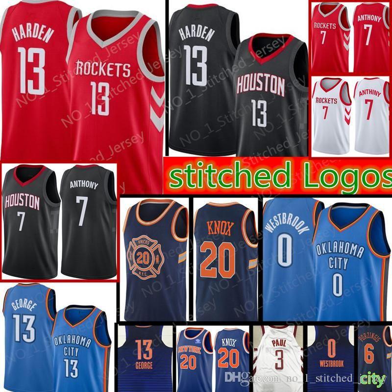 73b76158a28 2018  13 Harden 3 Chris Paul 7 Carmelo Anthony Houston Rockets Jersey 0  Russell Westbrook 13 Paul George Thunder 20 Kevin Knox Jerseys From  Xmm jerseys