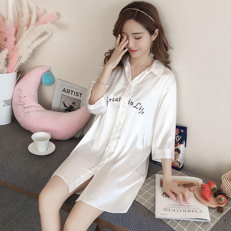 2019 Summer Women Nightgowns Satin Silk Casual Button Front Sleepwear Women  Mini Sleepshirts Nightwear Womens Pyjamas Sleepdress From Westlakestore d4c5cd038
