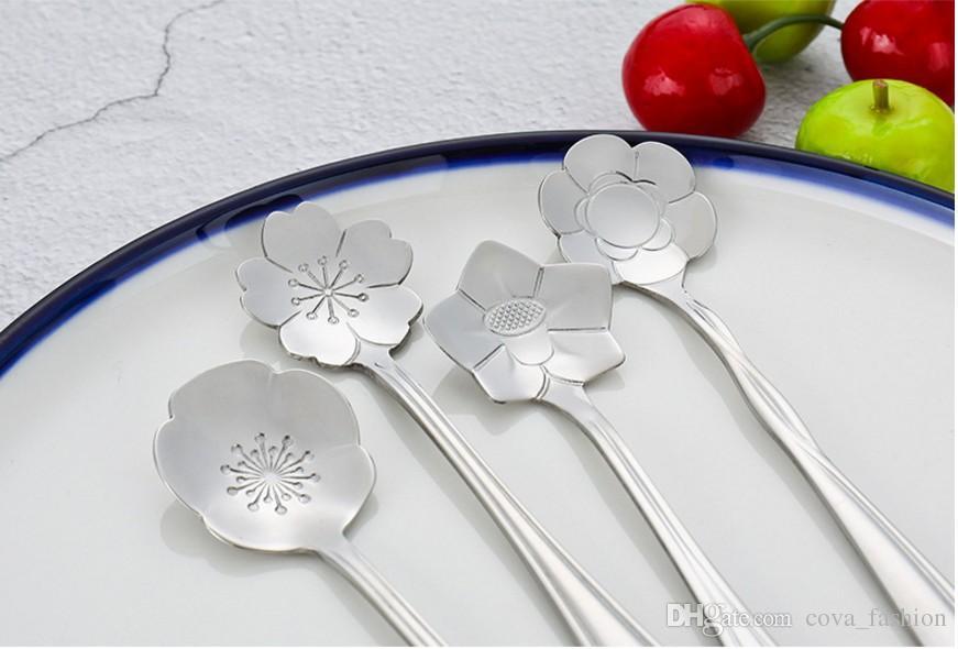 Aço inoxidável colheres de café de cor siver Cherry Blossom Rose colheres de girassol forma criativa flor colheres de aço inoxidável