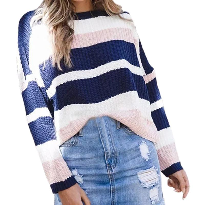 b0b231ec691d Long Sleeve Pullovers 2018 Women Striped Sweaters O-neck Girls Knitted  Shirts Warm Autumn Winter Sweaters Tops Plus Size GV182 Online with   46.14 Piece on ...