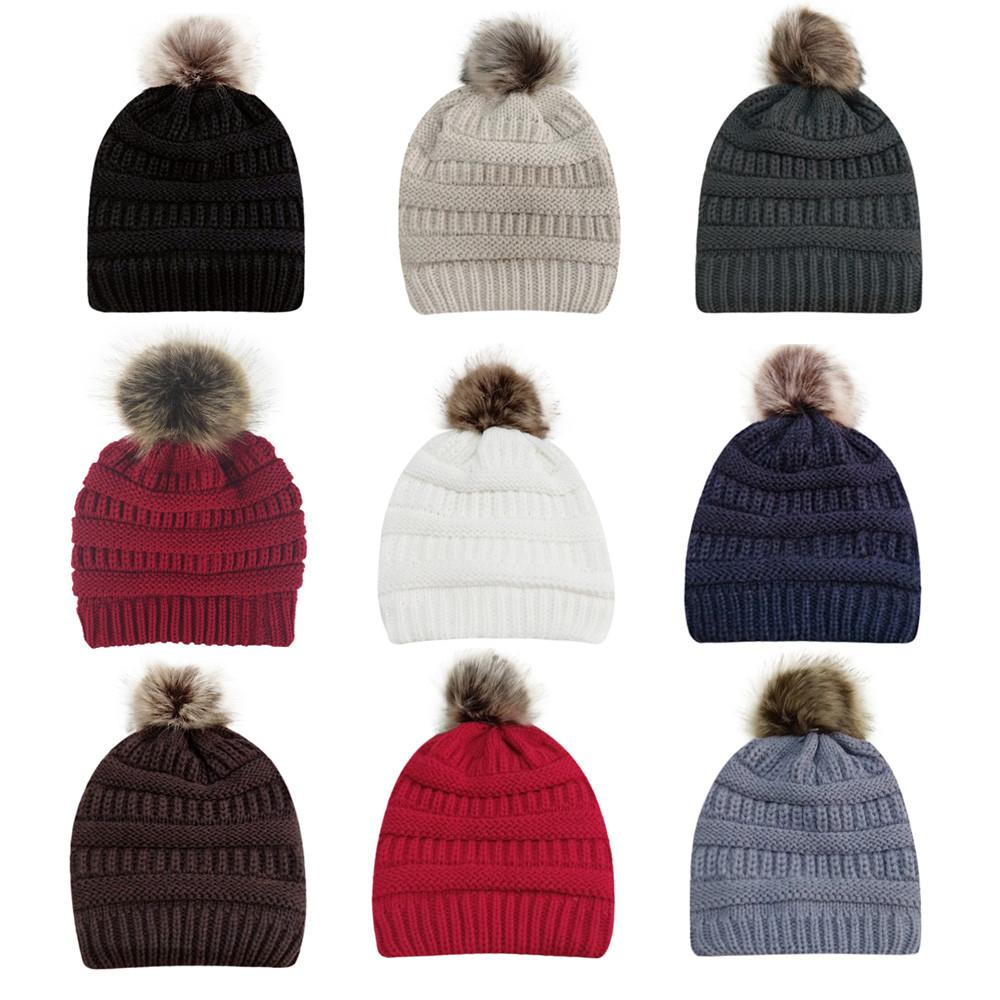 Feitong Mink And Fox Fur Ball Cap Pom Poms Winter Hat For Women Girl S Hat  Knitted Beanies Cap Brand New Thick Female Crazy Hats Mens Beanies From ... d6c726da0c22
