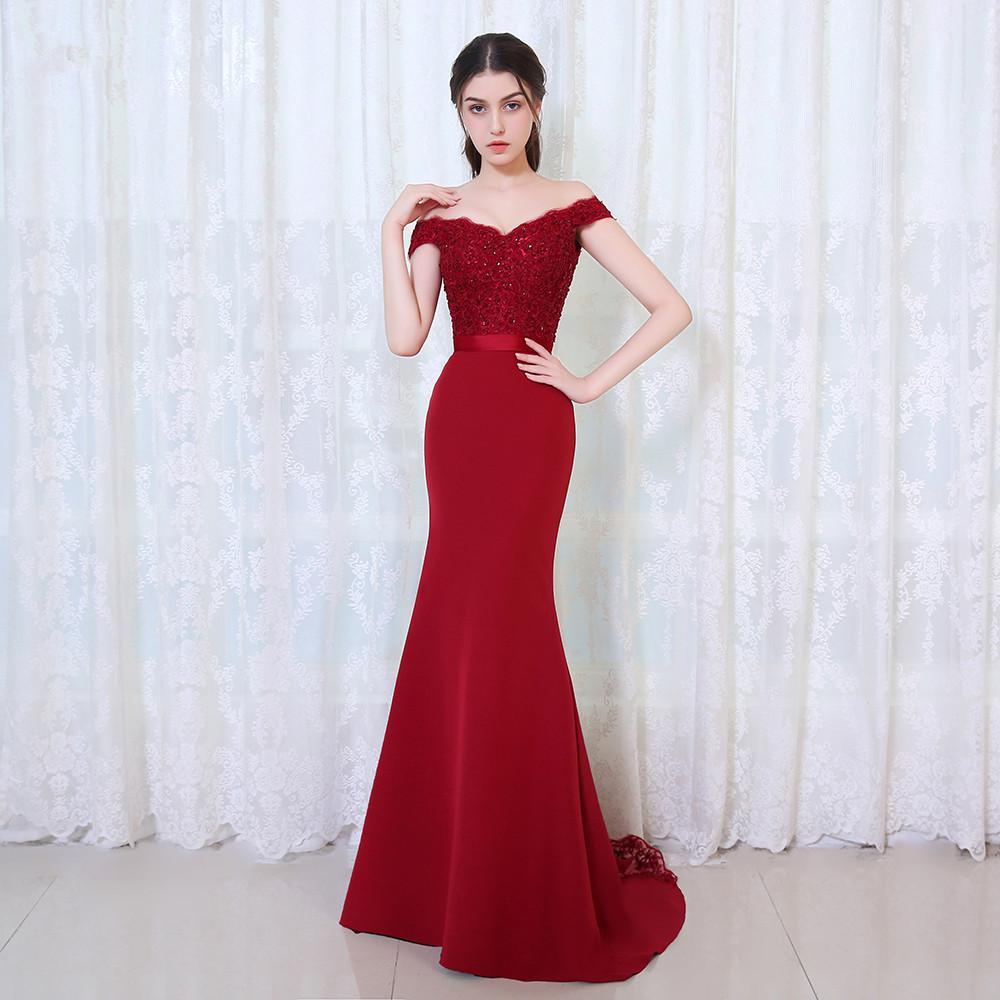 Vestido Largo Noche Burgundry Elegante Sirena De Fiesta Compre 7IyfbmY6gv