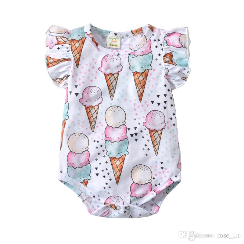 Baby Boy Girl INS Triangle Rompers 2018 New Children Ins Ice Cream ... 10b1c3048d