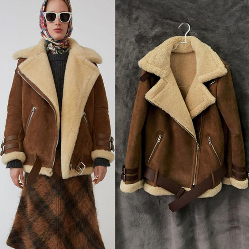 643527cf2ccf8 2019 2018 Winter Woman Men Shearling Coats Faux Suede Leather Jackets Plus  Size Loose Outerwear Pilot Thick Lamb Wool Coat W1520 From Bclothes001