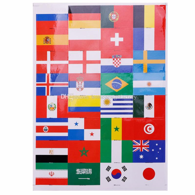 1Pcs Sheet National Flags Waterproof Face Body Stickers for Soccer Fans 32 Countries Football Game Tattoo Sticker for 2018 World Cup