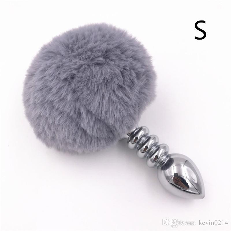 3 Size Rabbit Tail Stainless Steel Anal Plug Plush Gray Tail Backyard Anal Sex Toys for Women Adult Game H8-1-64E