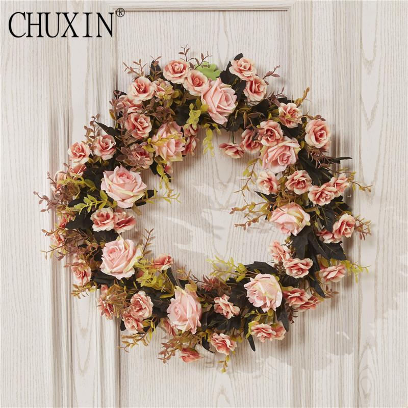 2018 Artificial Peony Rose Wreath Door Lintel Flower Wedding ...
