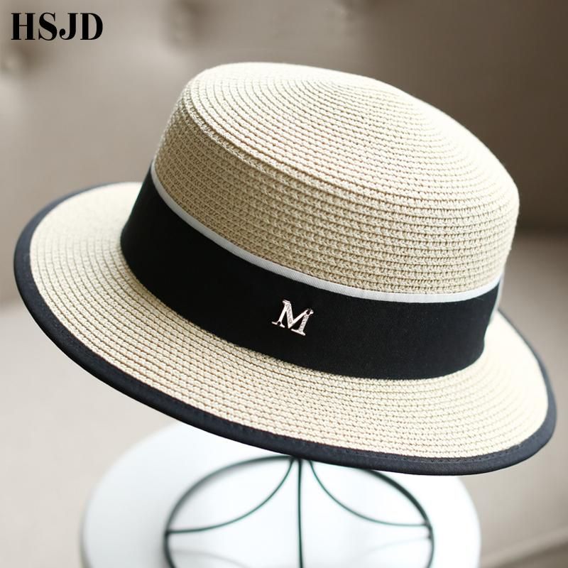 ed1e2b6e248 M Letter Ribbon Round Flat Top Straw Beach Hat Lady Boater Sun Caps M Panama  Straw Fedora Women S Travel Sun Cap Snapback Gorras Cowboy Hats Pork Pie Hat  ...