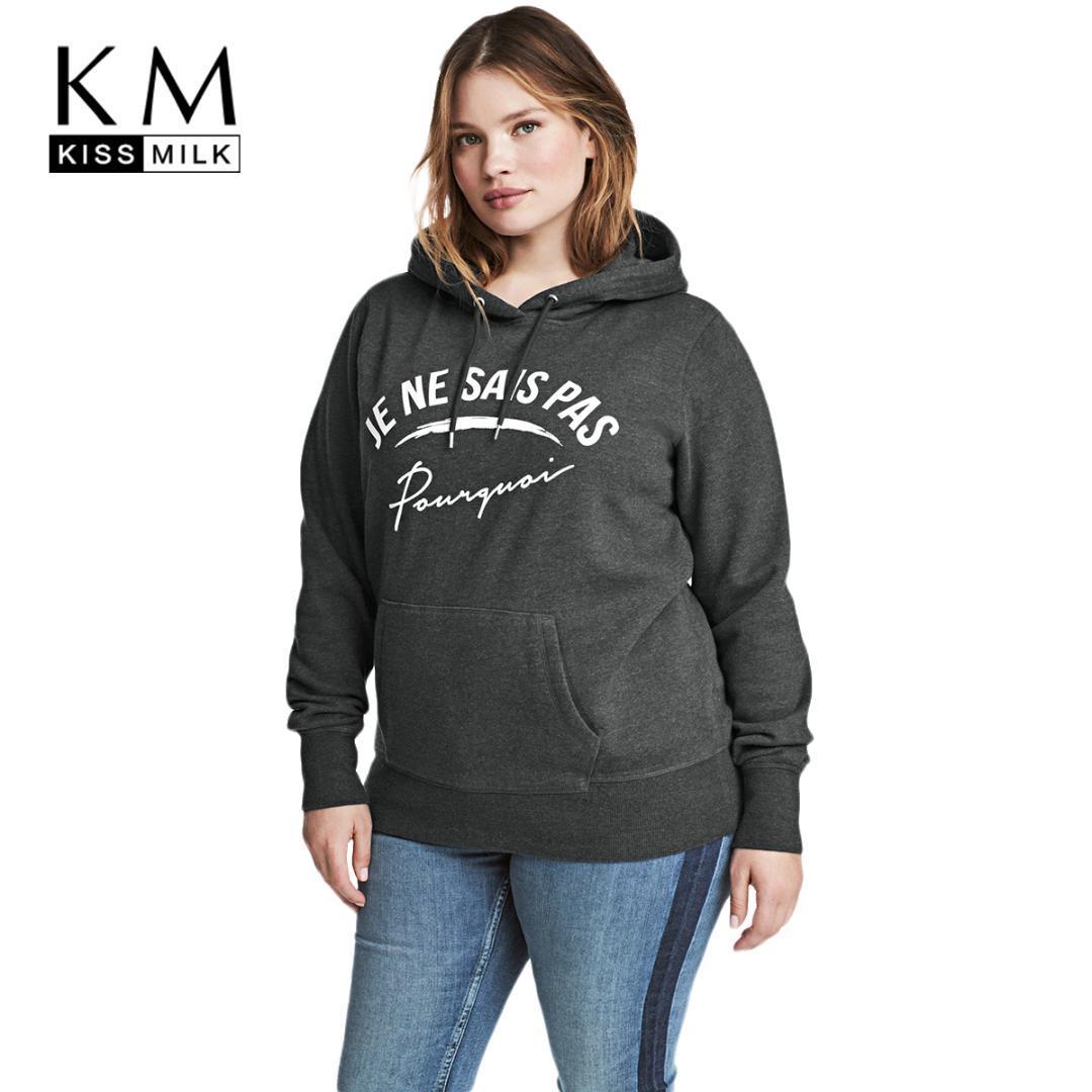 1e936ceb7b6 2019 Kissmilk 2018 Plus Size Casual Women Sweatshirts Letter Printed Large  Size Hooded Warm Female Clothing Big Lady Pullovers From Cravat