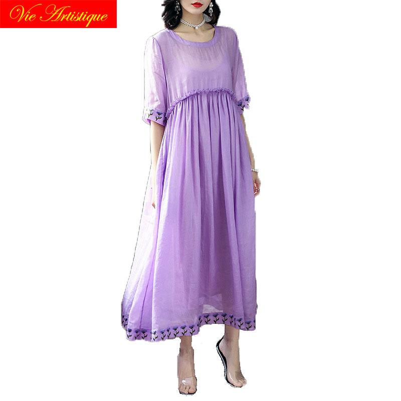 a84908619d10 Floral Linen Summer Dress Robe Femme Ete 2018 Maxi Women Dresses Beach Long  Sexy Boho Plus Size Bandage Party Casual Purple Summer Evening Dresses  Ladies ...
