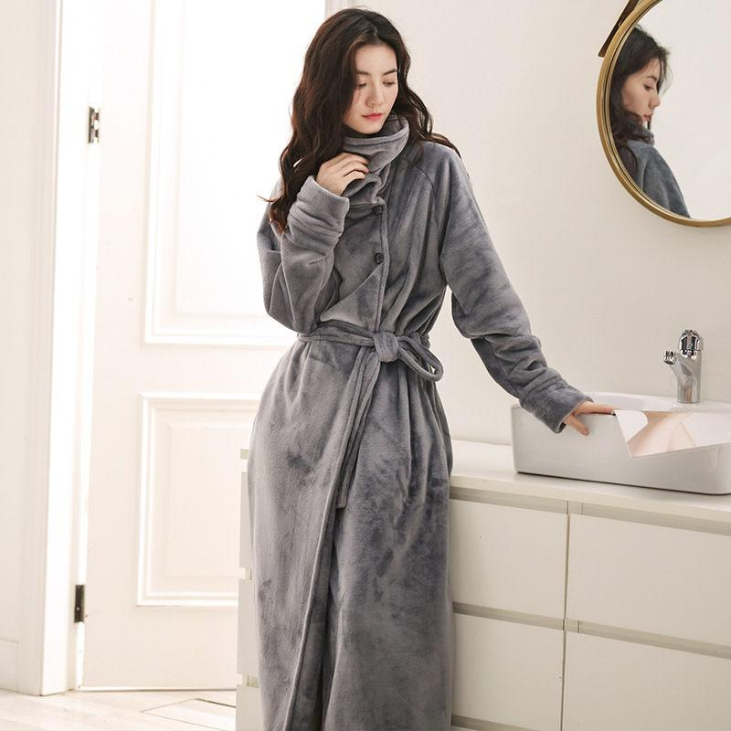d40760c283 Women Men Winter Hooded Extra Long Thick Warm Flannel Bath Robe Luxury  Thermal Bathrobe Soft Silk Dressing Gown Bridesmaid Robes Canada 2019 From  Tutucloth