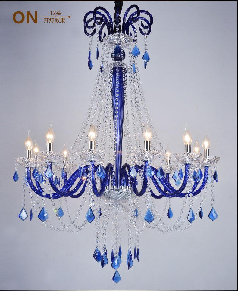 acheter pas cher lampe lustre cristal k9 avec bougie en rouge / bleu