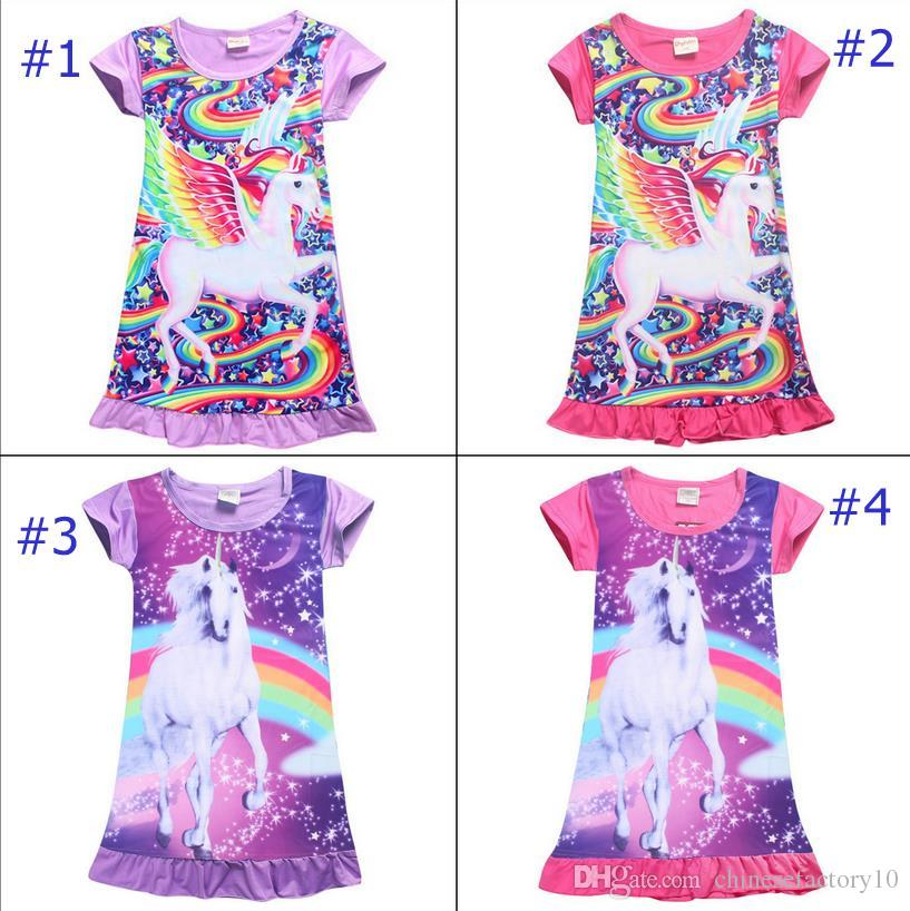 6f21a11444 Girls Unicorn Dress Kids Pajamas Cotton Short Sleeve Dress Sleepwear  Children Cartoon Summer Night Skirts Nightgown Summer 2018 New Childrens  Cotton Pajamas ...