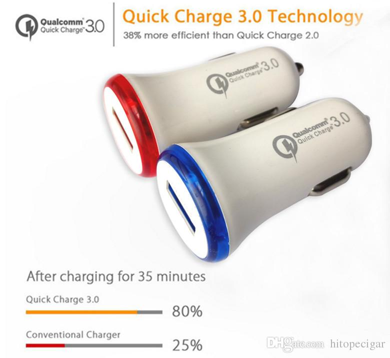 QC 3.0 Quick Car Charger 5V 9V 12V Single USB Port Fast Car Charger Mobile Phone Travel Adapter for Iphone Samsung Ipad
