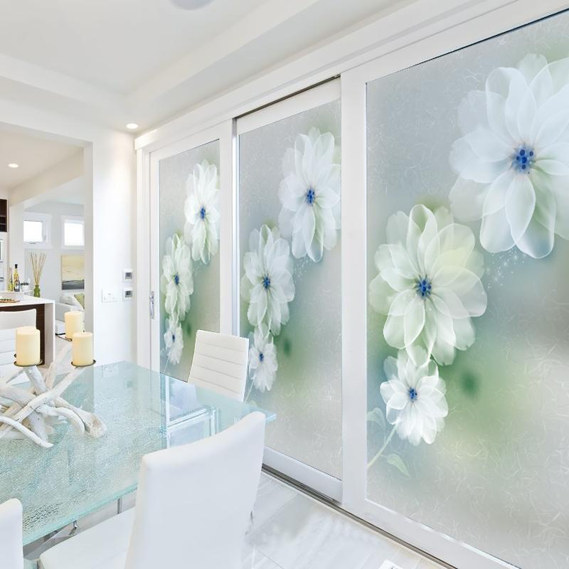 Dicor No Glue Stained Glass Window Film Frosted Opaque Privacy Home Decor Colorful Removable Static Cling BLT282 Dream Flower Girl Wall Stickers Girls