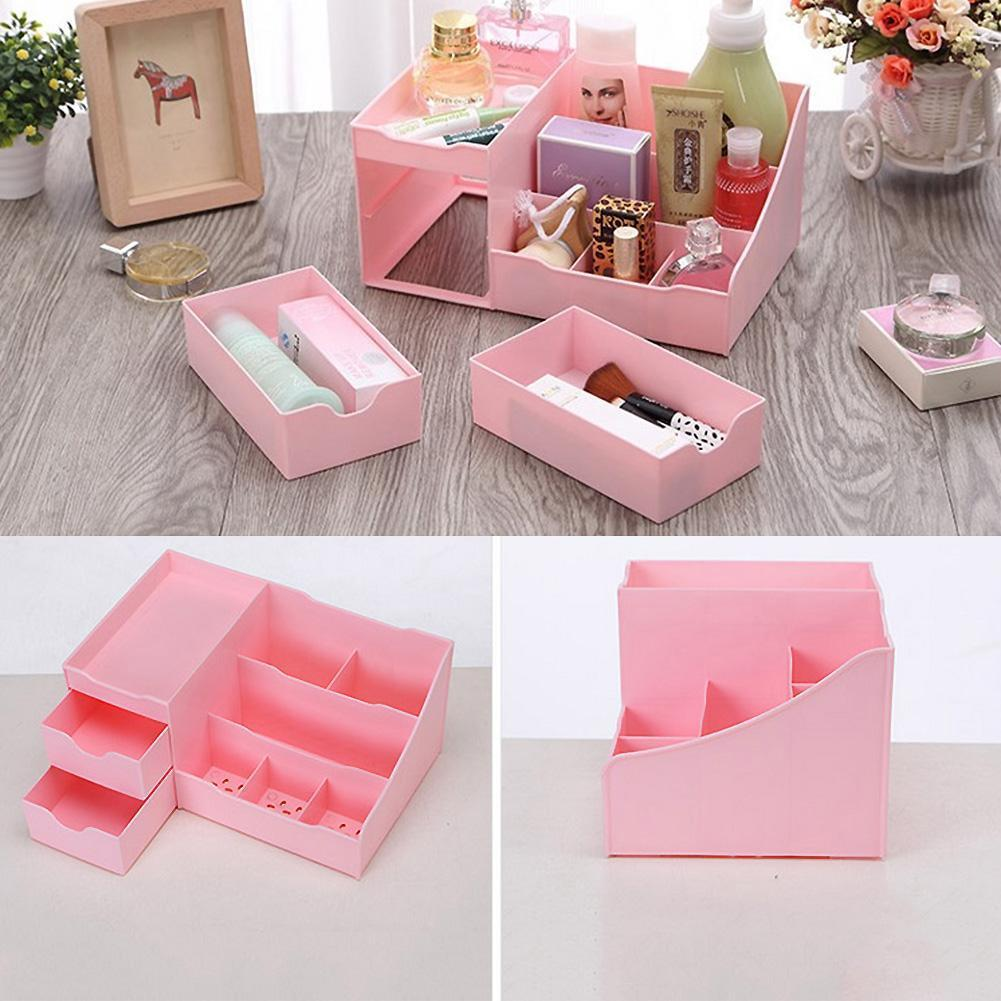 High Quality Plastic Drawer Pink Storage Box Desktop Cosmetic ...