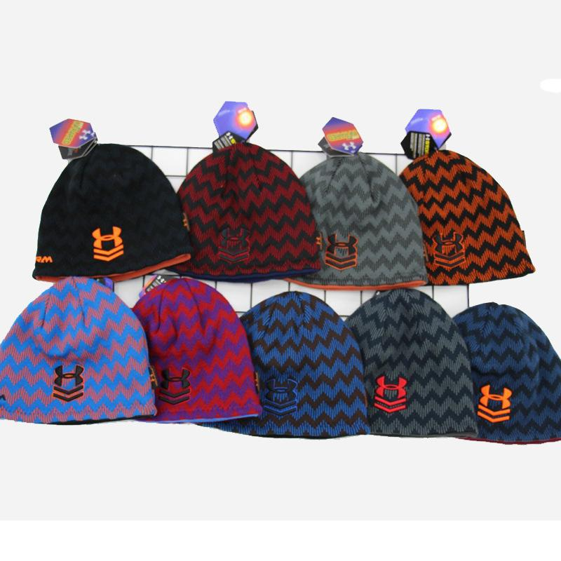 b5a515096af Brand UA Winter Reversible Beanie Hats Under Warm Striped Skullcap Armor  Fleece Hat Double Side Wear Beanies Knitted Skiing Outdoot Caps Online with  ...