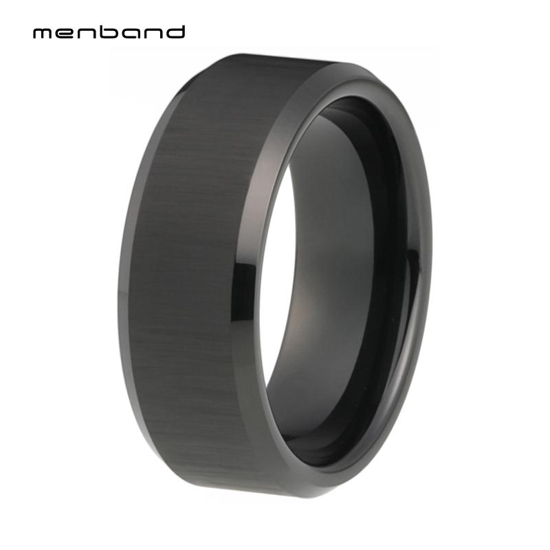 Black Wedding Bands Women Men Black Tungsten Rings Bevel Edges And Comfort Fit