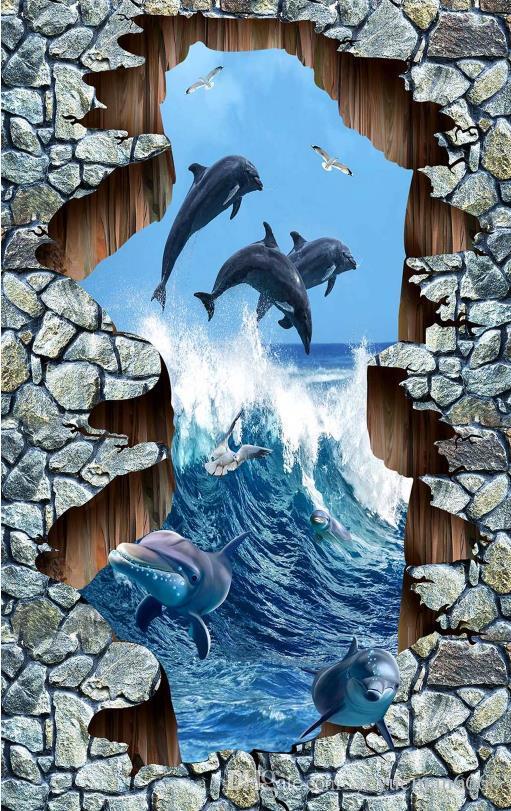 Самоклеющиеся обои 3D настил Морской мир дельфины обои 3D стереоскопический FloorTtiles водонепроницаемый настенные росписи