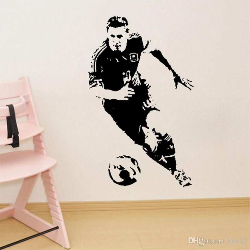 hot New Football Player Wall Stickers Soccer Sport Athlete Wall Decal Vinyl Decor for Boys Nursery Living Room Bedroom School Office
