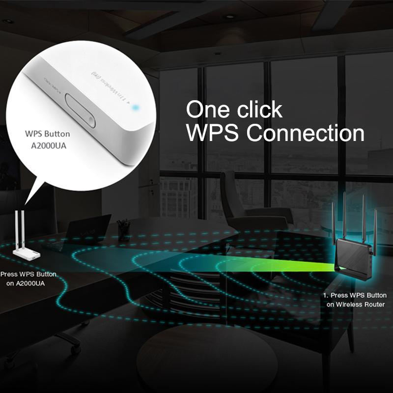 TOTOLINK A2000UA AC1200 Adaptador inalámbrico USB de banda dual Wi-Fi con antena externa 2 * 5dBi, tarjeta de red Wi-Fi altamente compatible