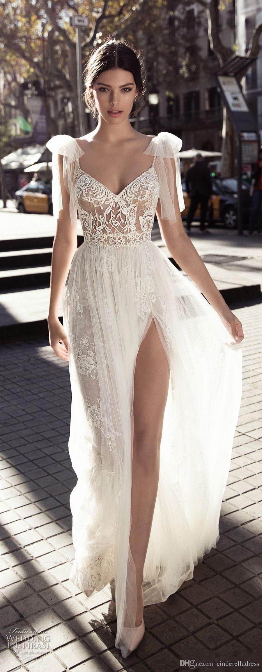 사이드 분할 바닥 길이 레이스 얇은 명주 그물 등이없는 웨딩 드레스 2020 GALI Karten 섹시한 A 라인 웨딩 드레스 얇은 명주 V 넥