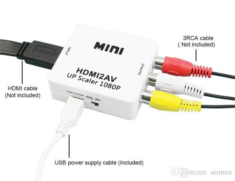 Nueva interfaz HDMI Mini HD Video Converter Box HD a AV / CVSB Video HDMI a adaptador AV HDMI2AV Compatible con NTSC y PAL Output DHL