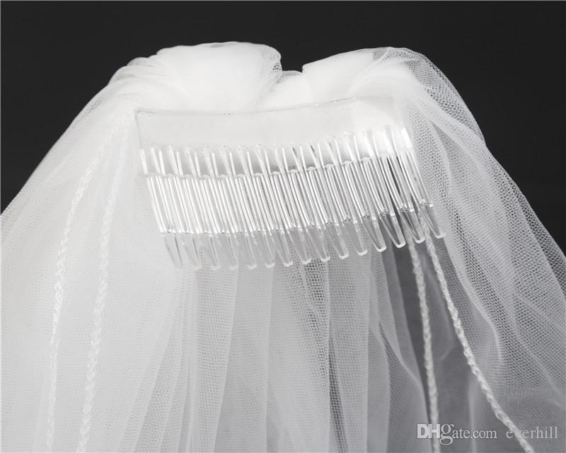JaneVini Bruids Sluier Two-Layer Ivory Wedding Veil With Comb Simple Pencil Edge Short Bridal Veil Fingertip Veils White Wedding Accessories