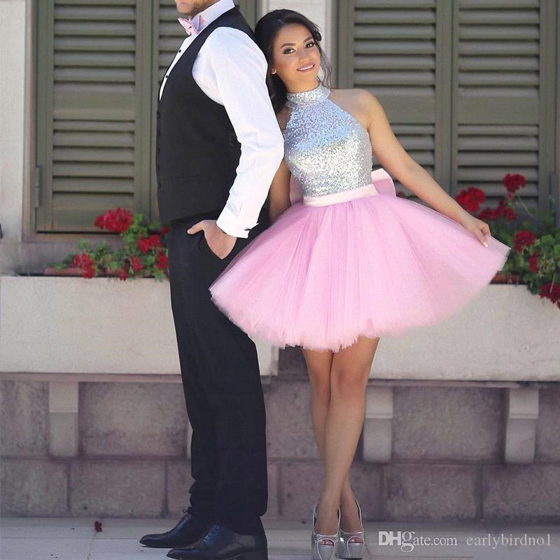 New Halter High Neck Sequined Top Short Homecoming Dresses 2018 Pink Tulle Puffy Skirt Mini Cocktail Party Gowns For Girls BA7831