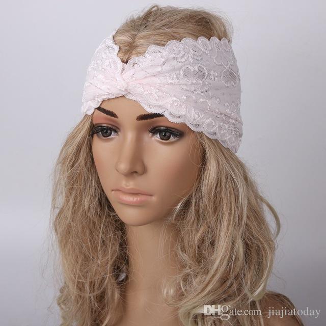 Neue Ankunft Mode Boho Frauen Mädchen Bandanas Spitze Kreuz Strand Stirnband Haarband Chic Breite Headwraps