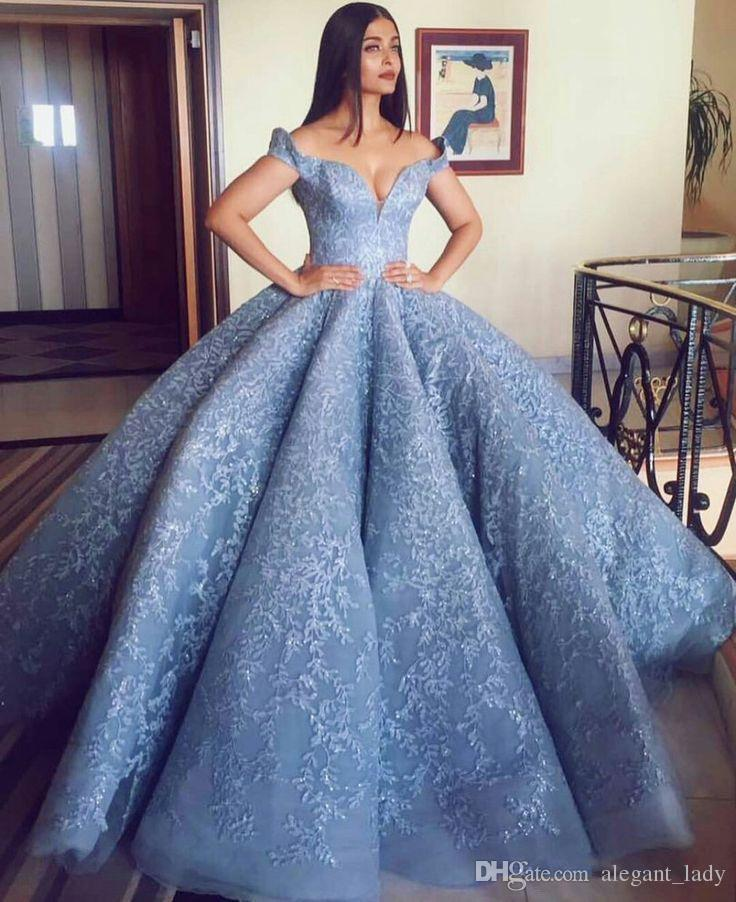 Michael Cinco 2018 Lace Embroidery Celebrity Red Carpet Dresses Sky Blue Off shoulder Puffy Skirt Ball Gown Prom Dress Dubai Arabic Style