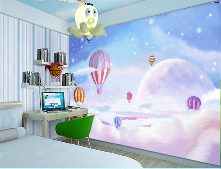 Custom Any Size Mediterranean Hot Air Balloon Habitación para niños Dormitorio Fondo de pantalla Papel pintado no tejido 3D Cartoon Mural