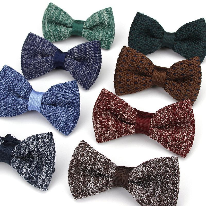 Kr1035 1042 New Men Women Knit Bowtie Adjustable Butterfly Double