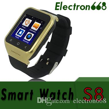 S8 Android 4.4 Smart Watch GSM Phone GPS MTK6572 Dual Core 512MB 4GB 2.0MP Camera SIM 3G WiFi Bluetooth 4.0 WCDMA 1.54 inch Smartwatch 20pcs