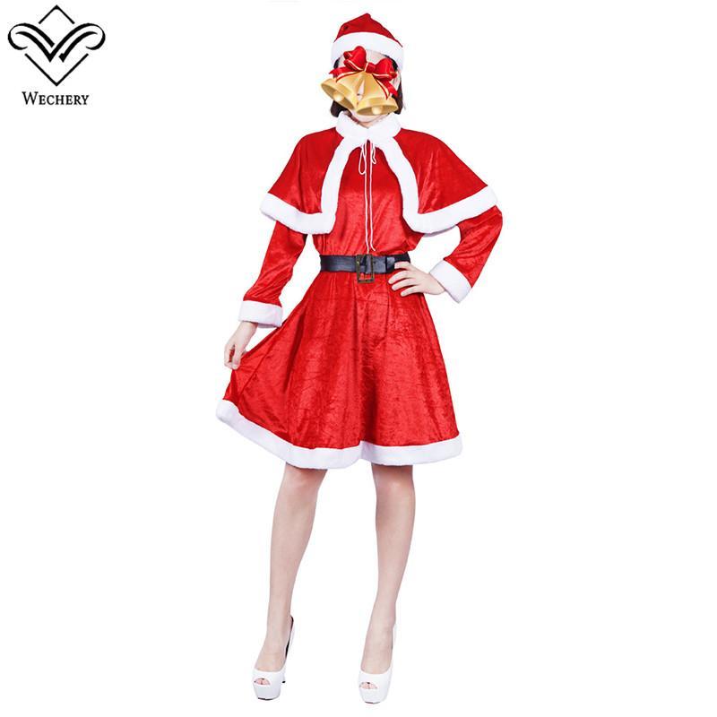 Acquista Wechery Vestito Da Donna Chirstmas Dolce Costume Da Babbo Natale  Corta Con Abbigliamento Rosso Capo Di Pelliccia A  43.81 Dal Sadlyric  5ed9ba7f33f
