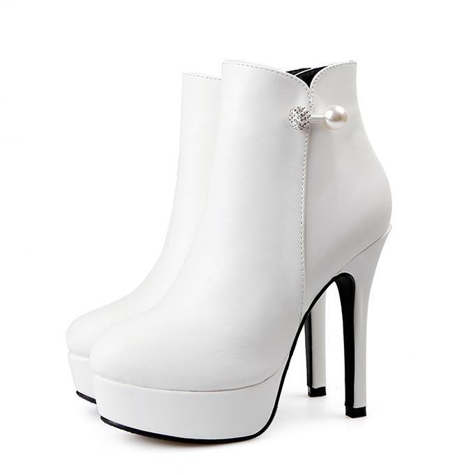Compre Plataforma Elegante Tacones Altos Rhinestone Blanco Boda Botas  Zapatos Mujer Invierno Añadir Felpa 12 Cm Tamaño 34 A 39 A  30.49 Del  Myshoescity ... 0b7fa9d74e8c