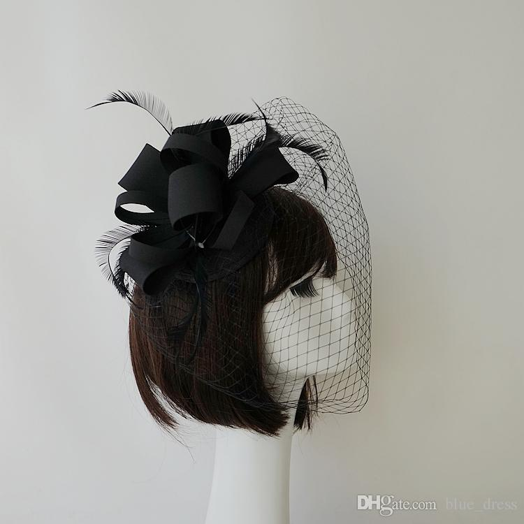 1f975efcf1bb4 Fashion Black Bridal Hats Veils Hat Wedding Ribbon Gauze Lace Feather  Flower 2018 New Party Hair Clips Caps Bridal Accessories Ladies Hats For  Weddings Lady ...