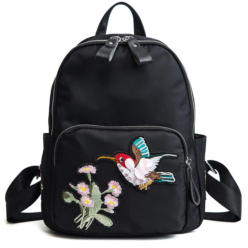Handmade Embroidery New Fashion Women Backpack For Teenage Girls High  Quality Desinger Nylon Black Elegant Female Backpacks Camera Backpack Back  Packs From ... 57f31de70292d
