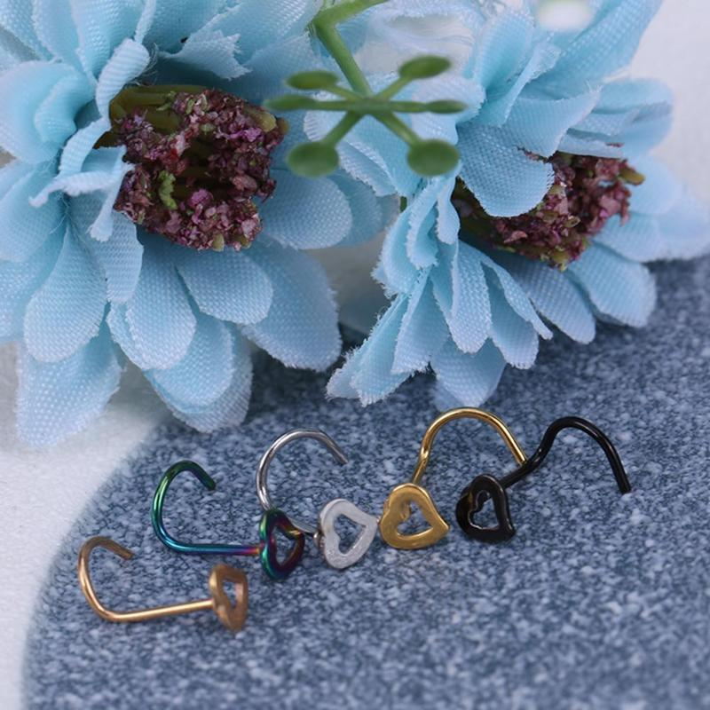 Stainless Steel Crystal Heart Multicolor Nose Rings Nose Studs Hooks Body Piercing Faux Nariz Percing
