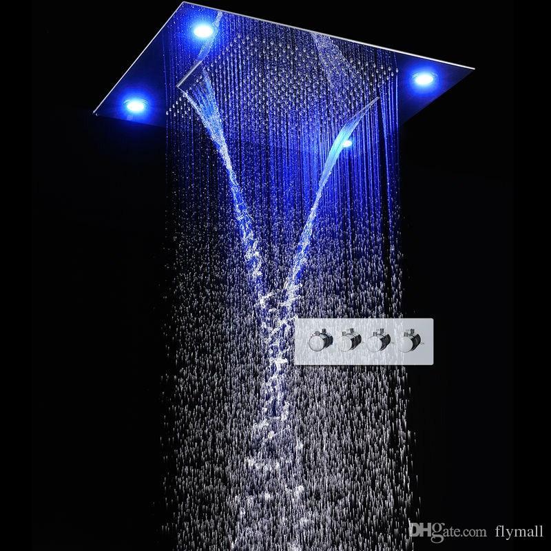 31 Large Bathroom Rainfall Shower Head 600*800mm Colorful LED Shower ...