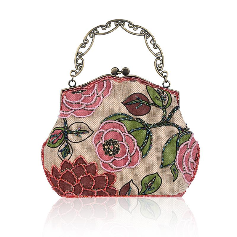 Pure Hand Made Beaded Embroidery Linen Retro Ladies Banquet Bag