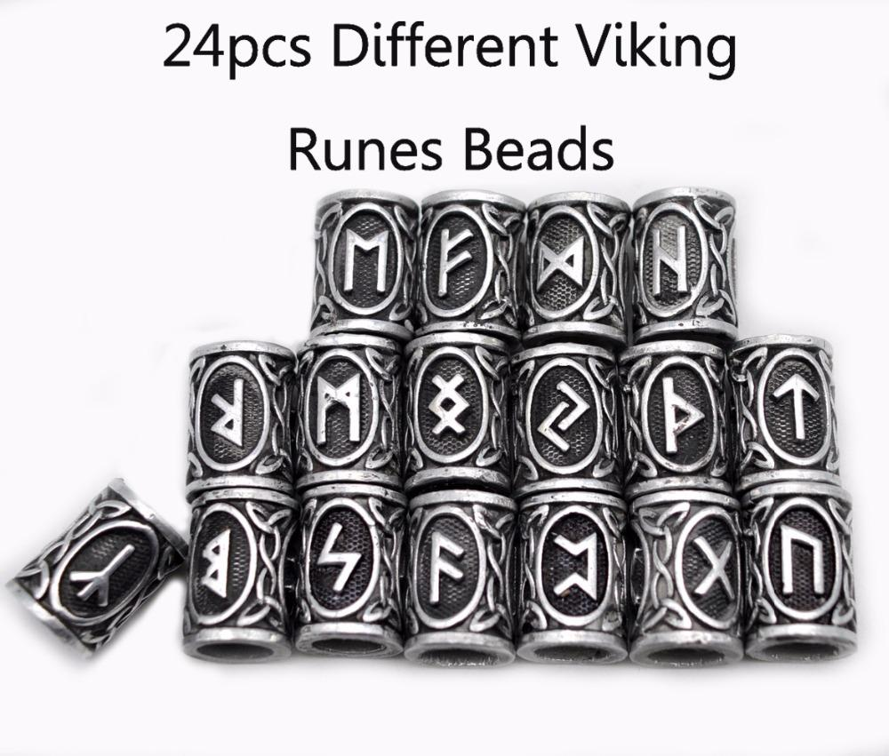 Wholesale Wholesale Top Silver Norse Viking Runes Charms Beads