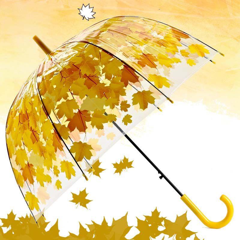 Yeni Şeffaf PVC Mantar Şemsiye Yeşil Baskılı Yapraklar Yağmur Temizle Yaprak Kabarcık Şemsiye Ücretsiz Kargo XL-189