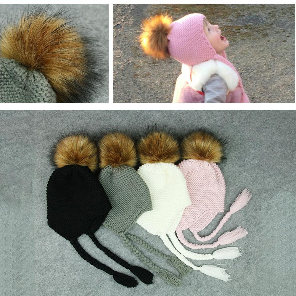 2019 Pom Beanie Cap Warm Ear Baby Hat Cute Toddler Kids Girl Boy Newborn  Faux Fur Winter Crochet Knit Children S Hat Baby Accessories From Babymom 4c14e68ed33d