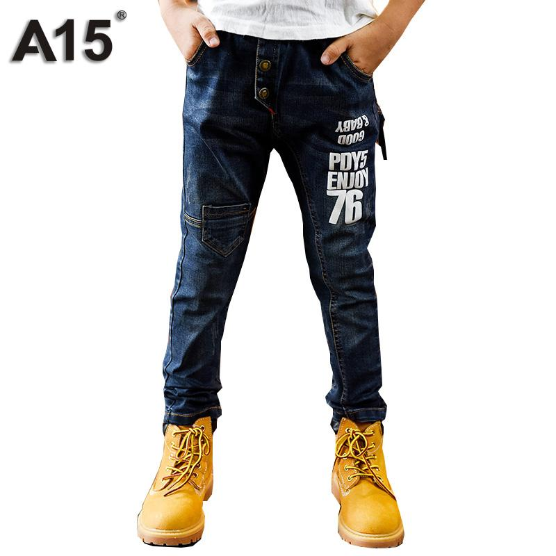 A15 Ripped Jeans for Kids Boys Jeans 2017 Fashion Long Length Kids Pants Children Trousers Teenage Clothing Size 8 10 12 14 Year