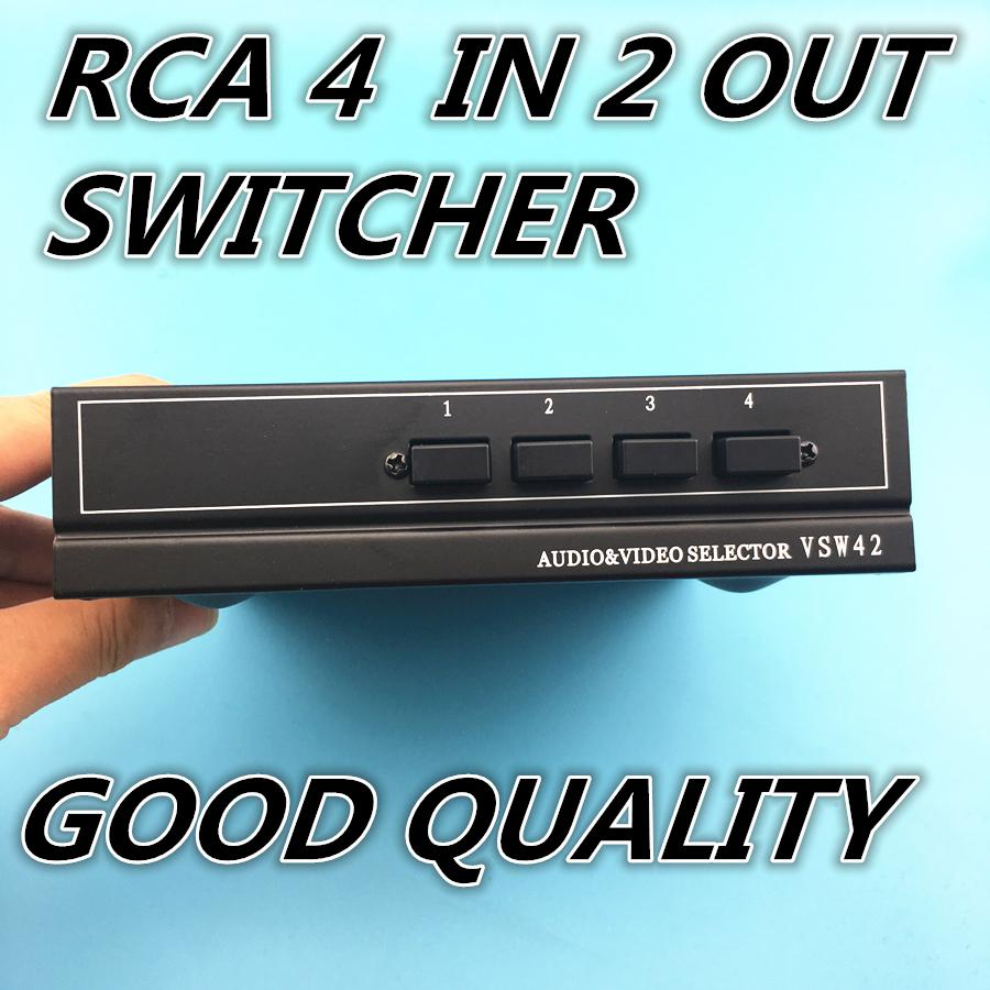 4 Ports 2output Composite 3 Rca Video Audio Av Switch Switcher Box ...