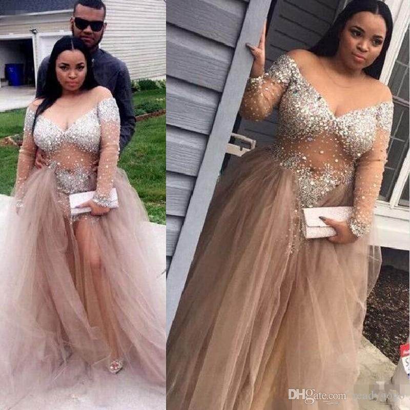 Champagne Crystal Beaded Long Sleeve Evening Formal Dresses Sheer Neck Plus Size Off Shoulder Full length Occasion Prom Gowns